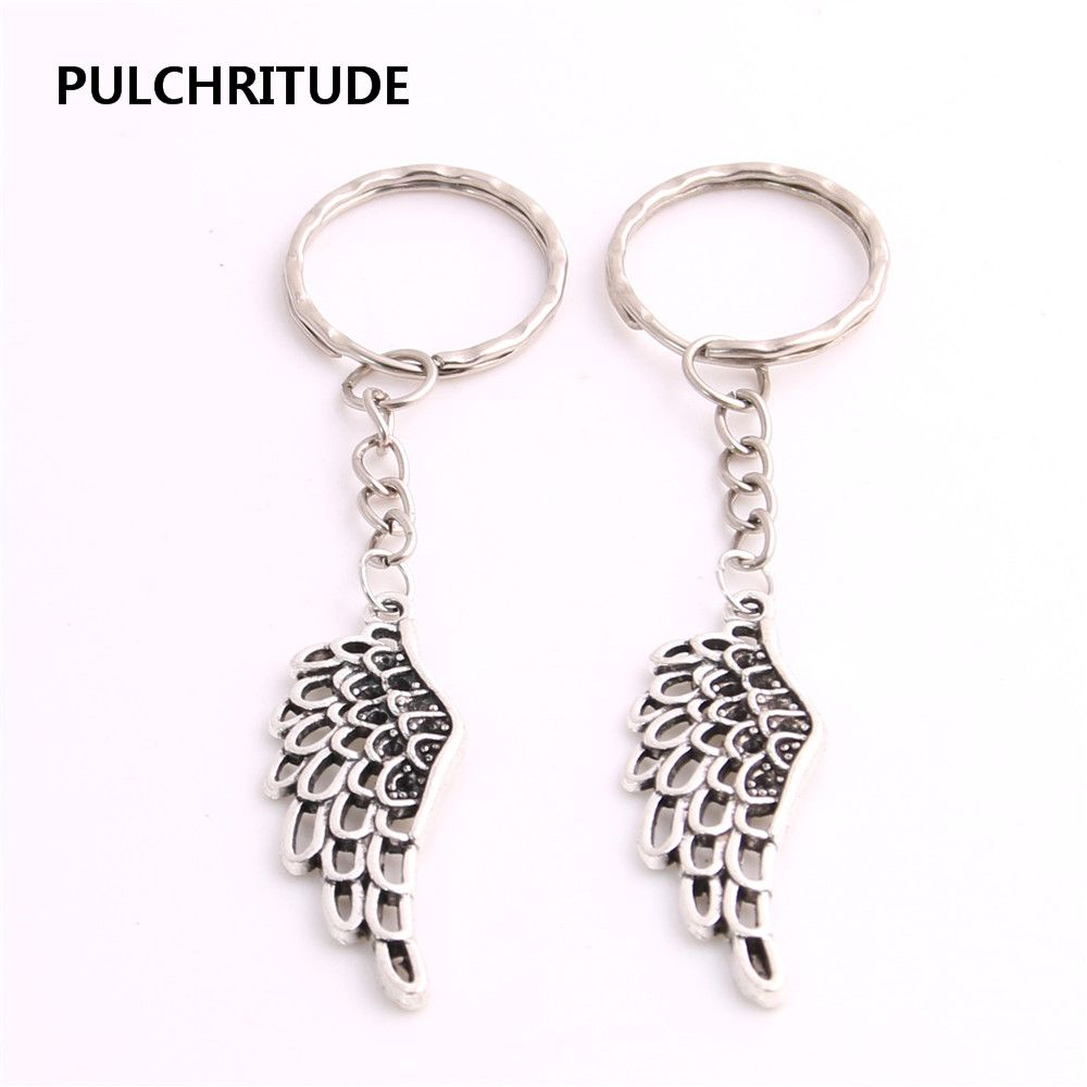 PULCHRITUDE 8pcs/lot Antique Silver Feather Pendant Charm Wings Pendant Key Chain Hand Made Charm Earing Jewelry Diy C1042