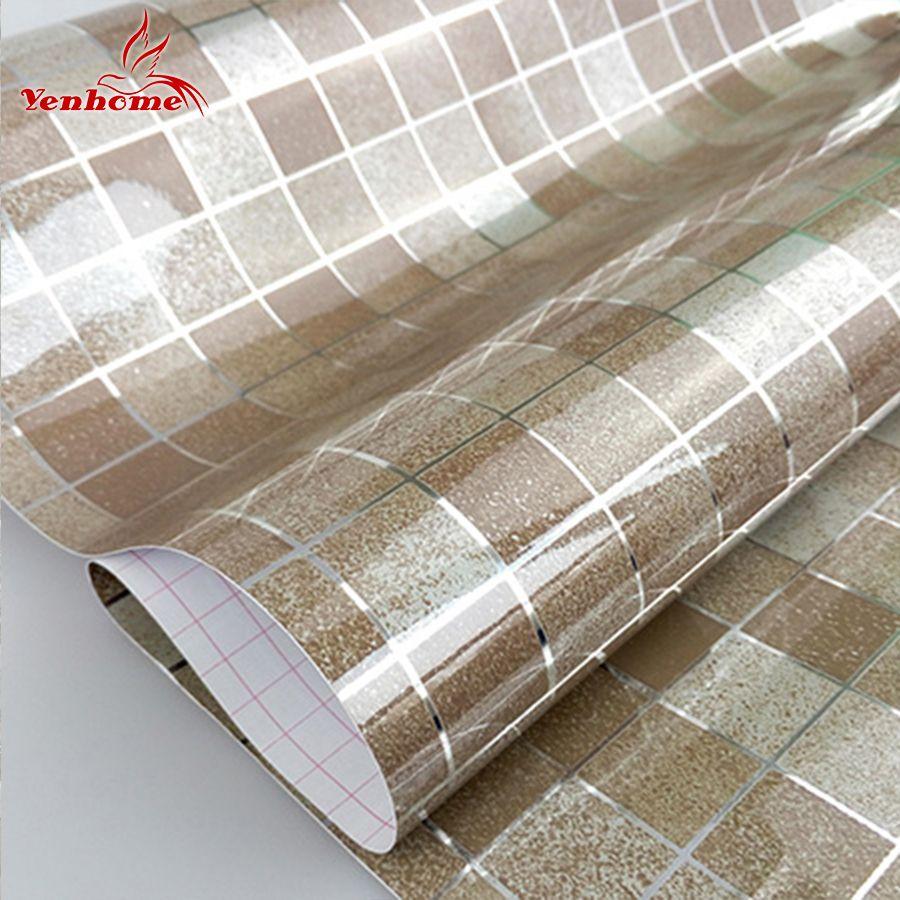 Moderne PVC auto-adhésif papier peint salle de bains papier peint cuisine étanche mosaïque carrelage autocollants vinyle décor à la maison Stickers muraux