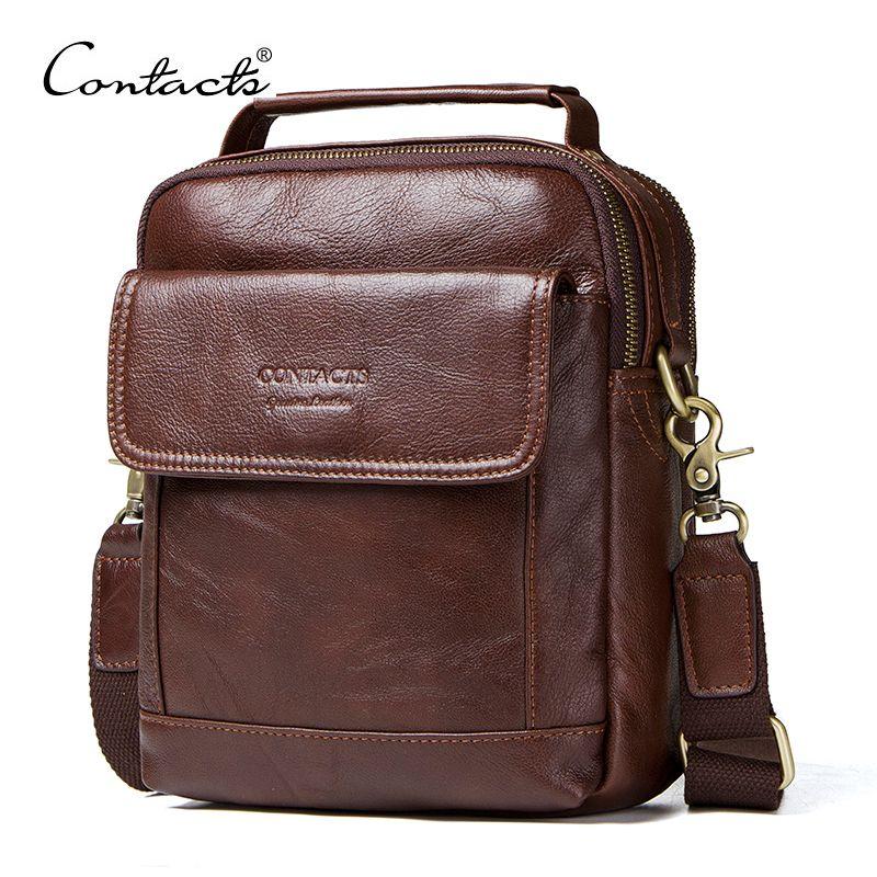 CONTACT'S sacs à bandoulière en cuir véritable mode hommes Messenger sac petit ipad mâle fourre-tout Vintage nouveaux sacs à bandoulière sacs à main pour hommes