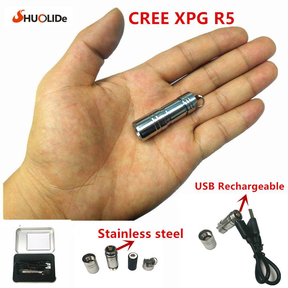 USB Rechargeable LED Torche Lampe De Poche CREE XPG R5 Super Mini CONDUIT Trousseau Lampe-Torche d'acier Inoxydable 10180 batterie au lithium