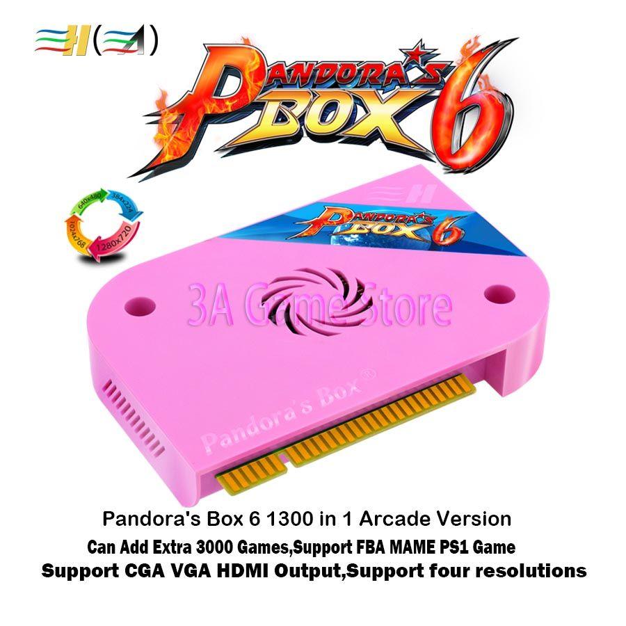 Pandora Box 6 1300 in 1 jamma arcade Version pcb game <font><b>board</b></font> CGA VGA HDMI output CRT HD 720p support fba mame ps1 game 3d tekken