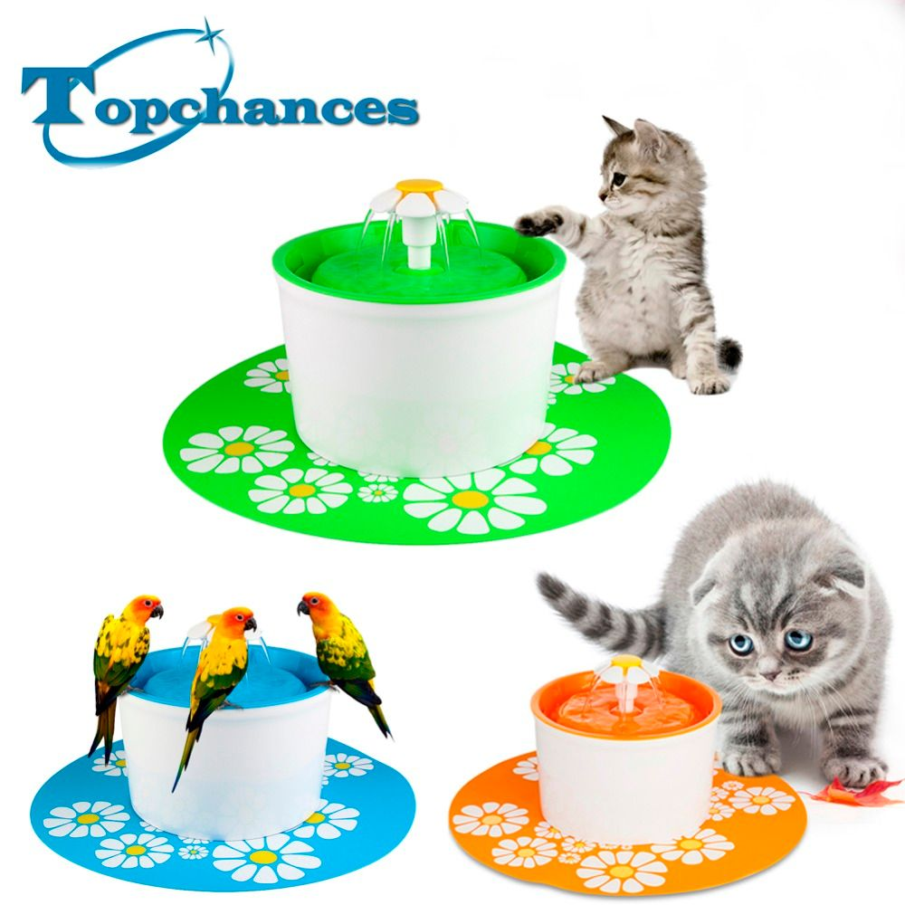 Automatic 1.6L Flower Style Dog Cat Kitten Water Drinking Pet Fountain Pet Bowl Drink Dish Filter With Mat