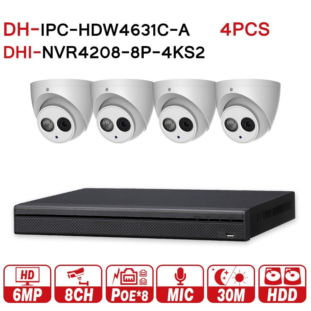 DH original Security CCTV System 4pcs 6MP IP camera IPC-HDW4631C-A & 8POE 4K NVR NVR4208-8P-4KS2 Surveillance Security System
