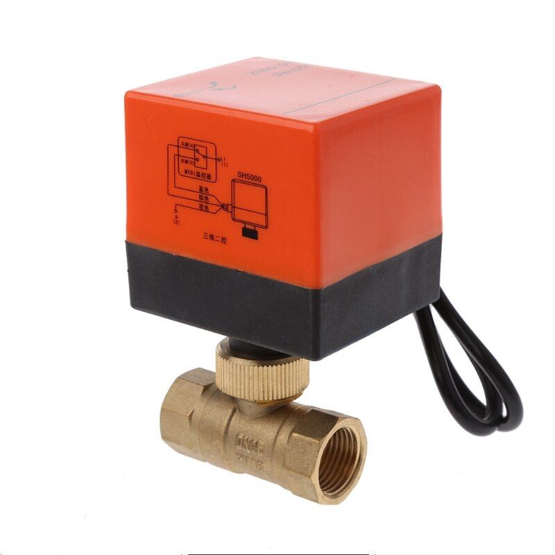 DN15 DN20 DN25 AC 220V 2 Way 3-Wire Electric Motorized Brass Ball Valve with Actuator