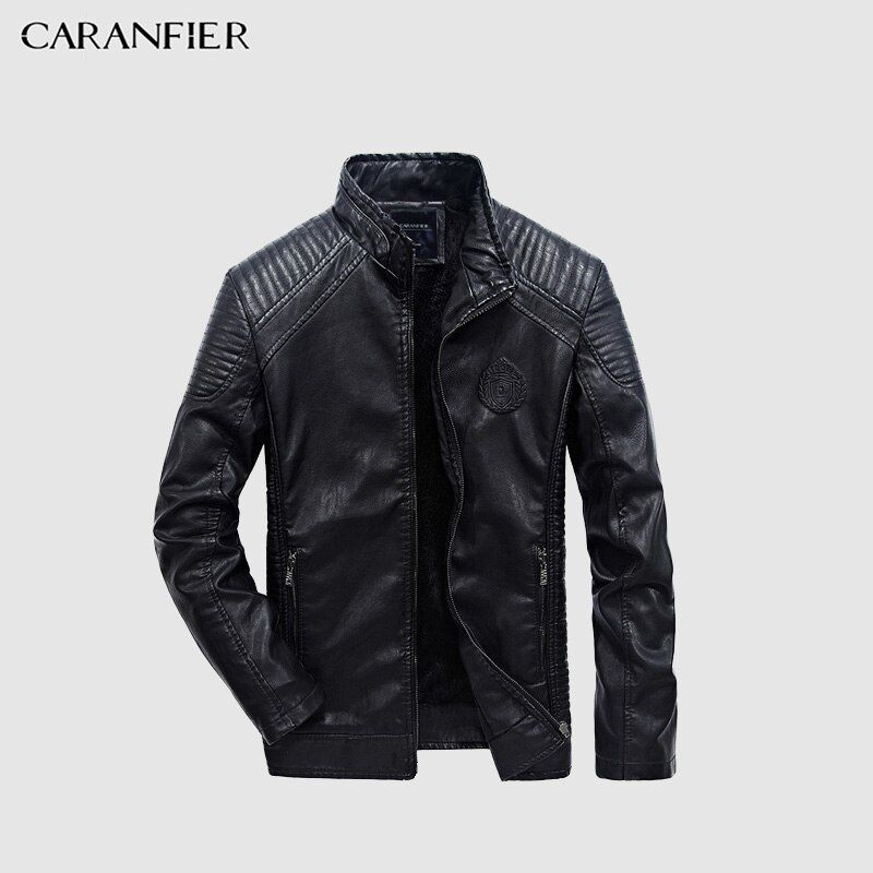 CARANFIER 2017 Men Jacket Autumn Winter Fashion PU Faux Leather Jackets Men Good Quality Casual Slim Mens Warm Jacket Coat XXXL