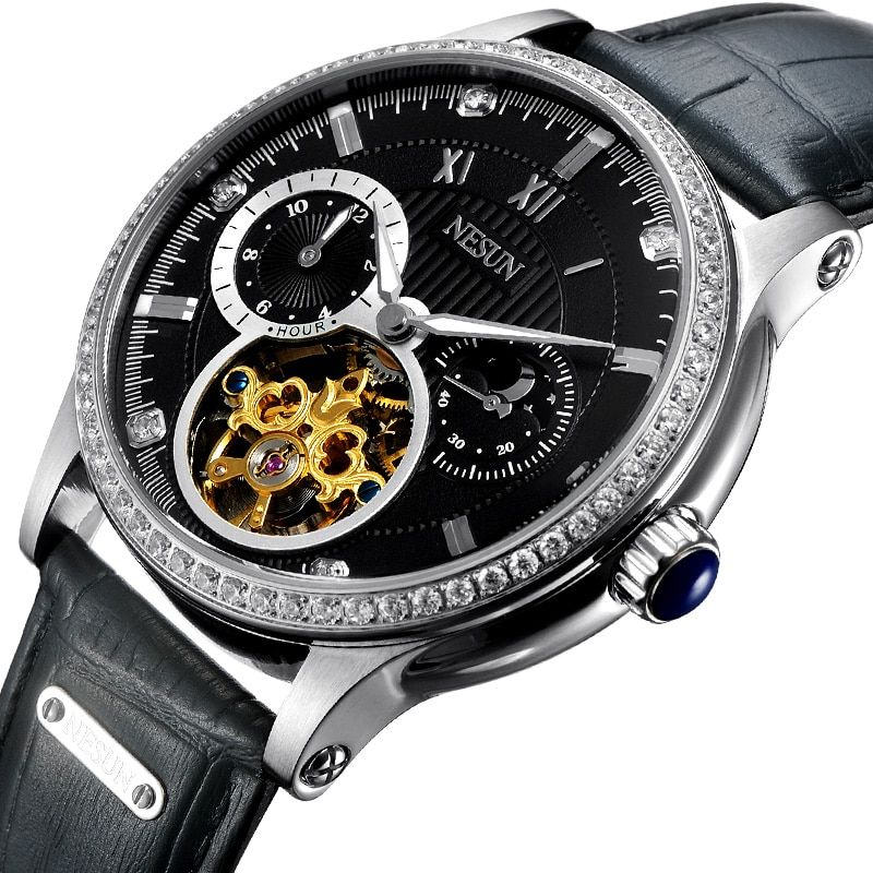 Luxury Brand Switzerland NESUN Skeleton Diamond Watch Men Automatic Self-Wind Men's Watches 100M Waterproof clock N9093-7