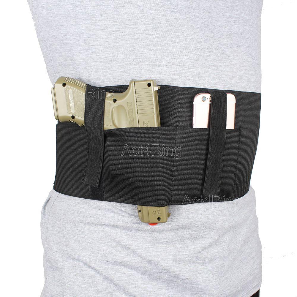 Étui à bande de ventre polyvalent avec pochette et 2 sangles élastiques pour Glock, Sig Sauer
