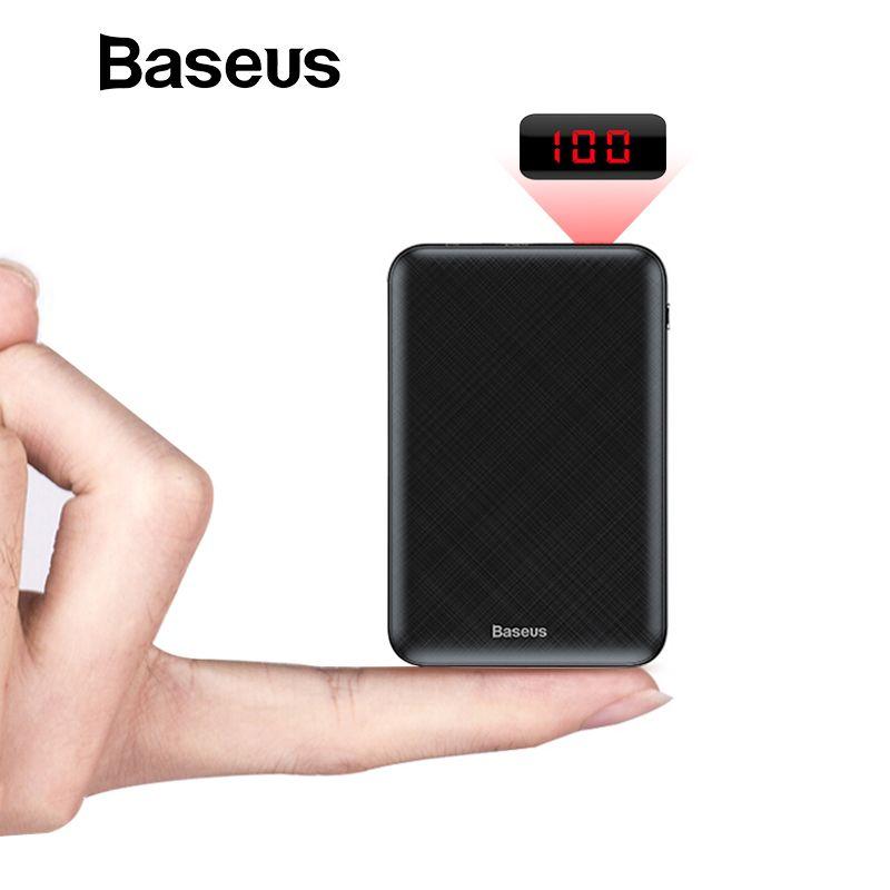 Baseus Mini 10000 mAh batterie externe USB C PD appauvrbank LCD 10000 mAh Powerbank pour iPhone Xiaomi Portable chargeur de batterie externe