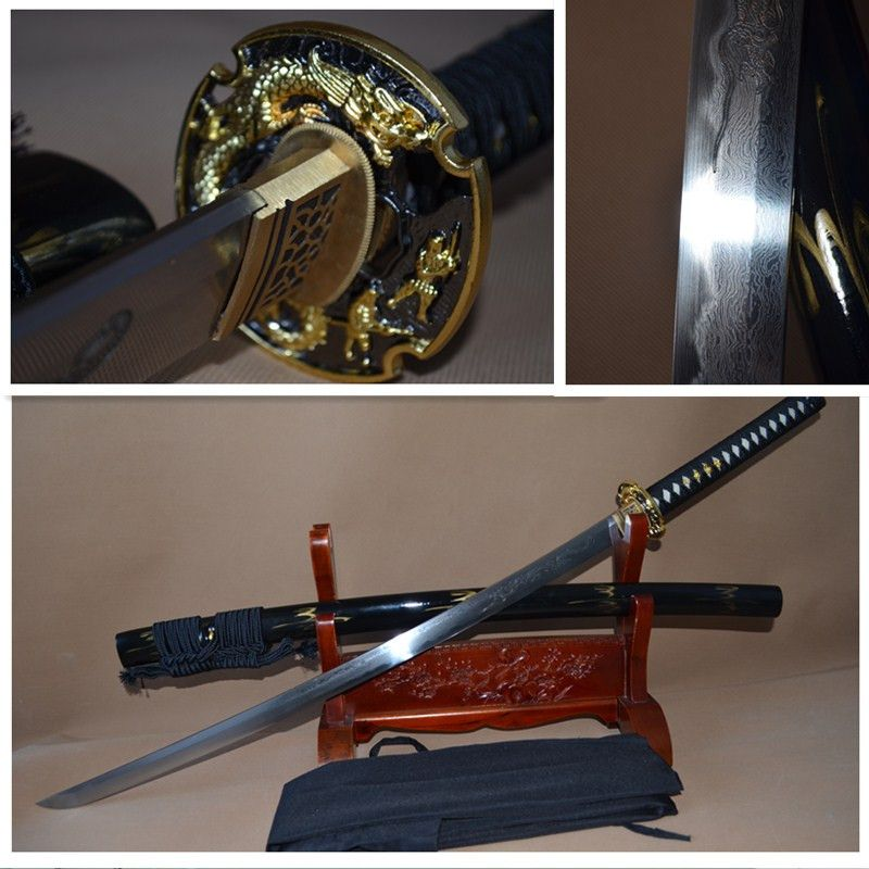 Hot sale Real High Quality Full Handmade battle ready clay tempered full tang ENGRAVE DRAGON blade JP katana swrod sharpened