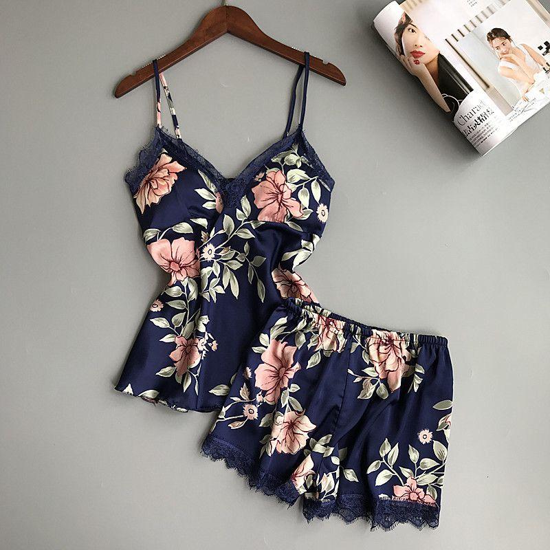 Printing Spaghetti Strap Women Pajama Set V-Neck Sexy With Pad Female Summer Pajamas