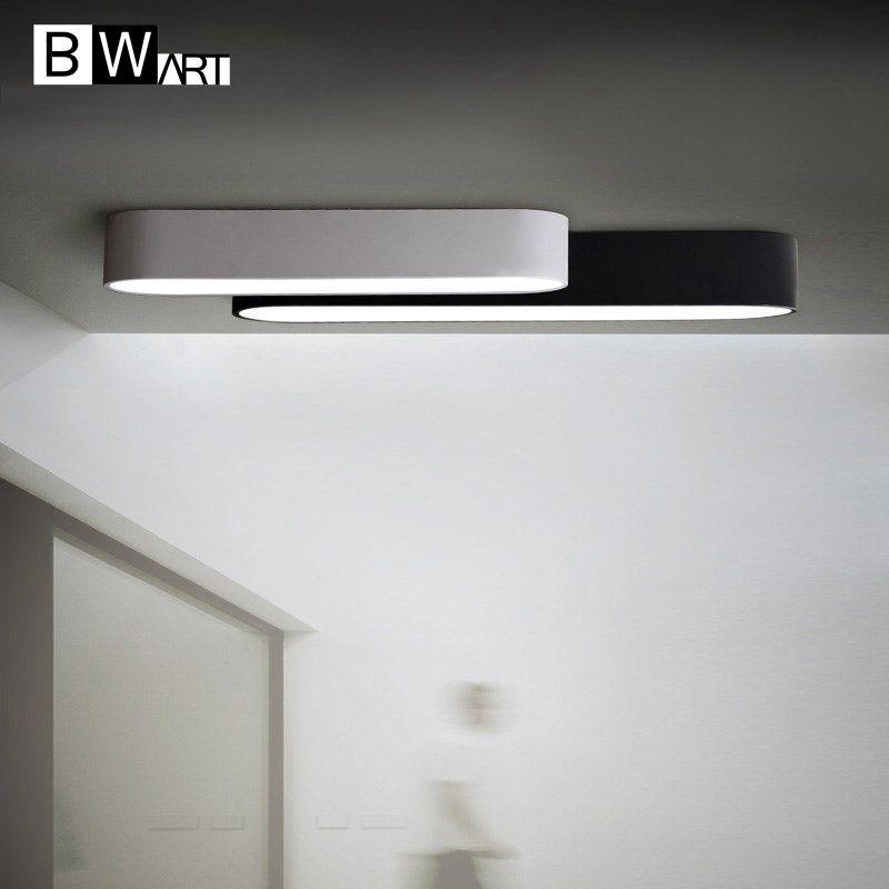BWART Long strip oval LED ceiling lighting black white corridor bedroom ceiling lampara modern ceiling light