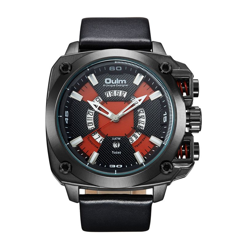 OULM Watches Men Big Size Military Quartz Watch Creative Auto Date Leather Wristwatch Male Business Watch Hours reloj hombre
