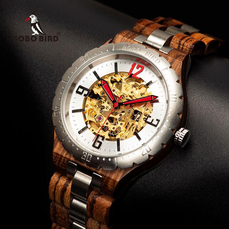 BOBO VOGEL Mechanische Uhr Männer Holz Uhren Wasserdicht Automatische Uhren Top-marke Luxus Armbanduhren relogio masculino