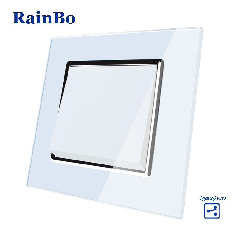 RainBo Marque Bouton-Poussoir 1Gang2Way Fabricant de Mur Cristal Interrupteur De Lumière En Verre Panneau AC 110-250 v A1712W /B