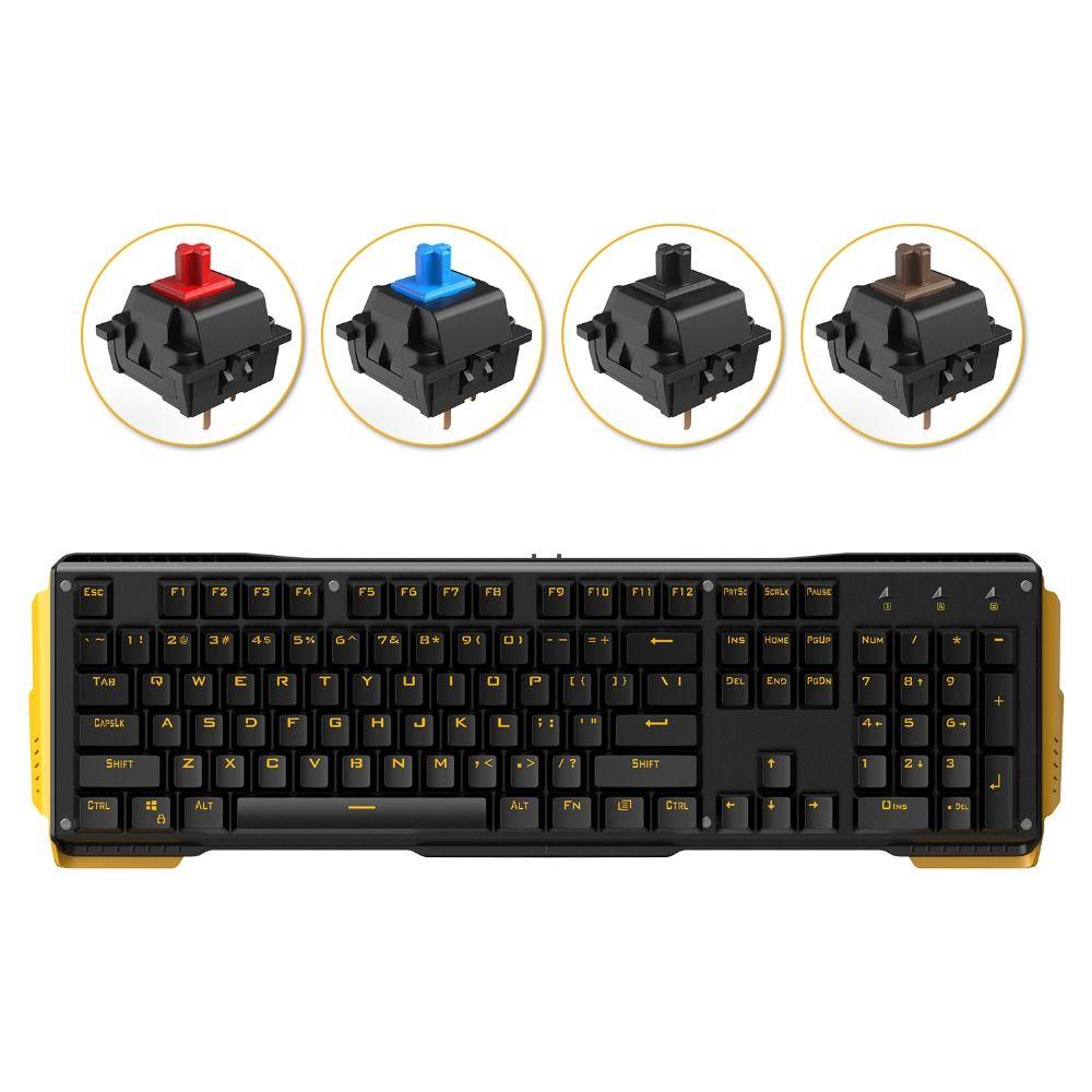 James Donkey 619 Gaming Keyboard 104keys Gateron Switches USB Wired Yellow Backlight Mechanical Keyboard for Mac PC Gamer CS LOL