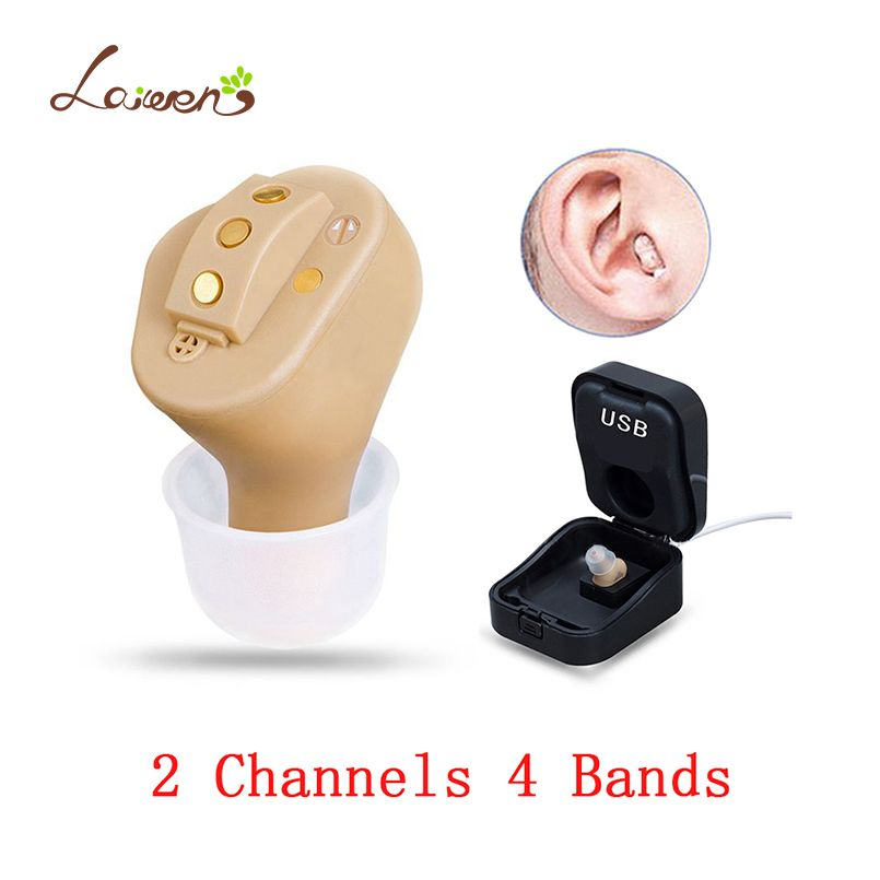 C51 Rechargeable Invisible Complete In Ear Digital Hearing Aid 2 Channels 4 Bands USB Rechargeable CIC Hearing Aids