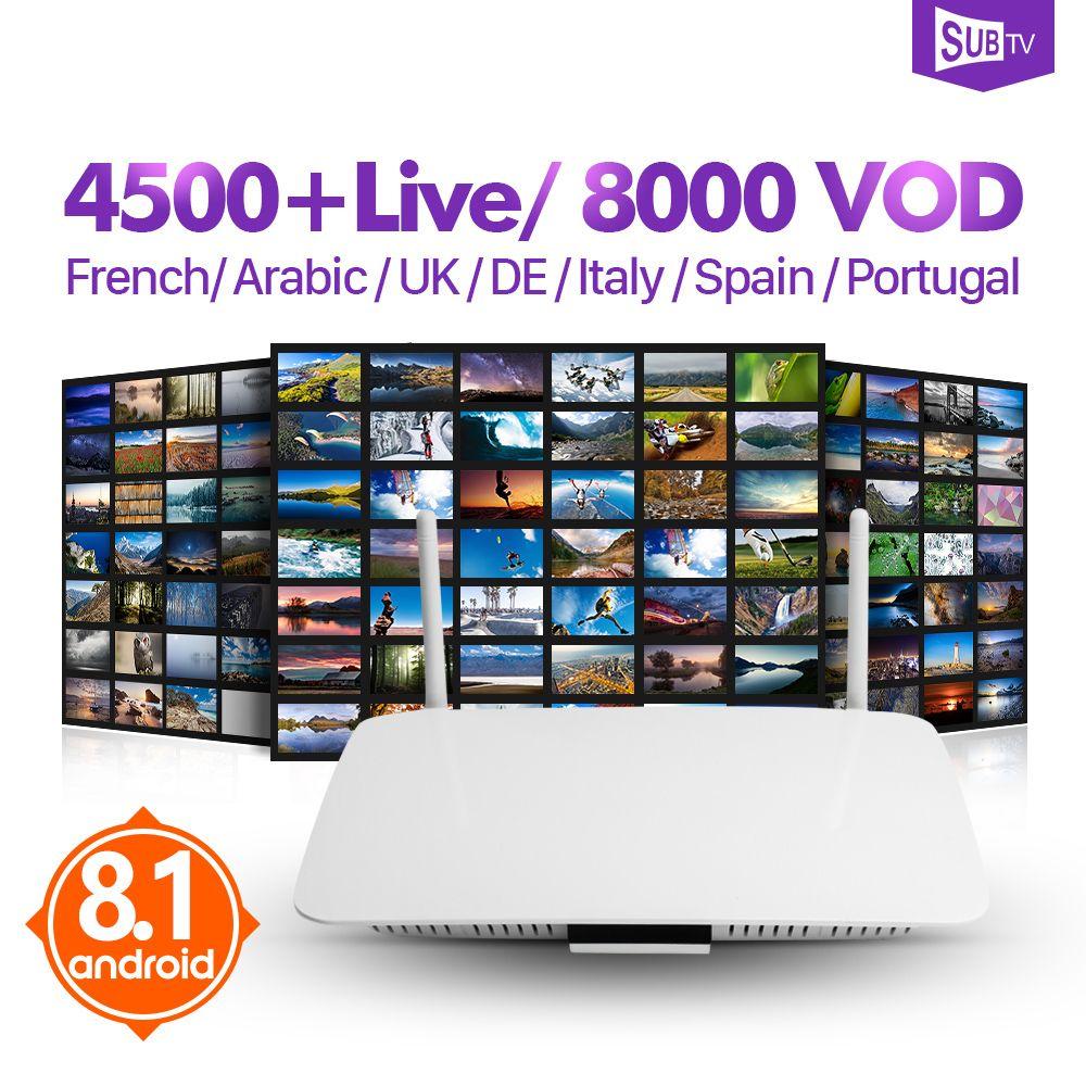 IPTV boîte de France Q1404 Android 8.1 récepteur TV Arabe boîte d'iptv Leadcool IPTV 1 année France Arabe Belgique Turquie Portugal IP TV