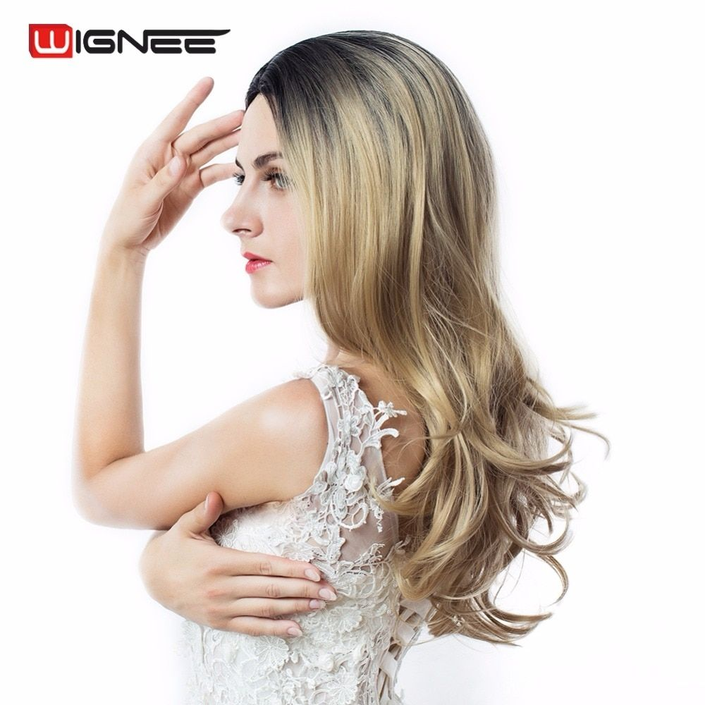 Wignee Hand Made Front Ombre Color Long Blonde Synthetic Wigs For Black/White Women High Temperature Glueless Cosplay Hair Wigs