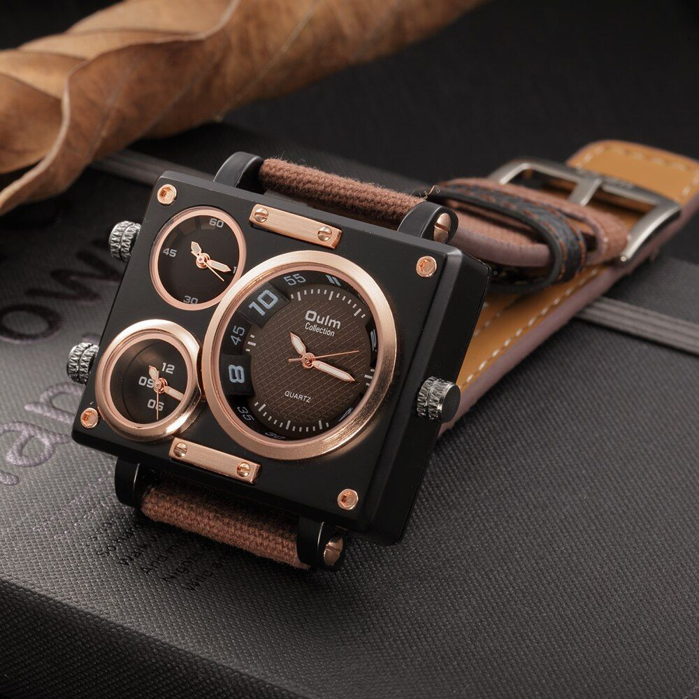 Oulm montre De Luxe Marque homme Tissu Pasr Quartz-montre Horloge Mâle Multiples Fuseaux horaires Carré Sport Montres montre homme