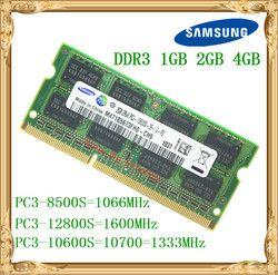 Samsung ноутбука памяти DDR3 4 ГБ 2 ГБ 1 ГБ 1066 1333 1600 мГц PC3-10600 8500 12800 ноутбук Оперативная память 10600 S 2 г 4 г