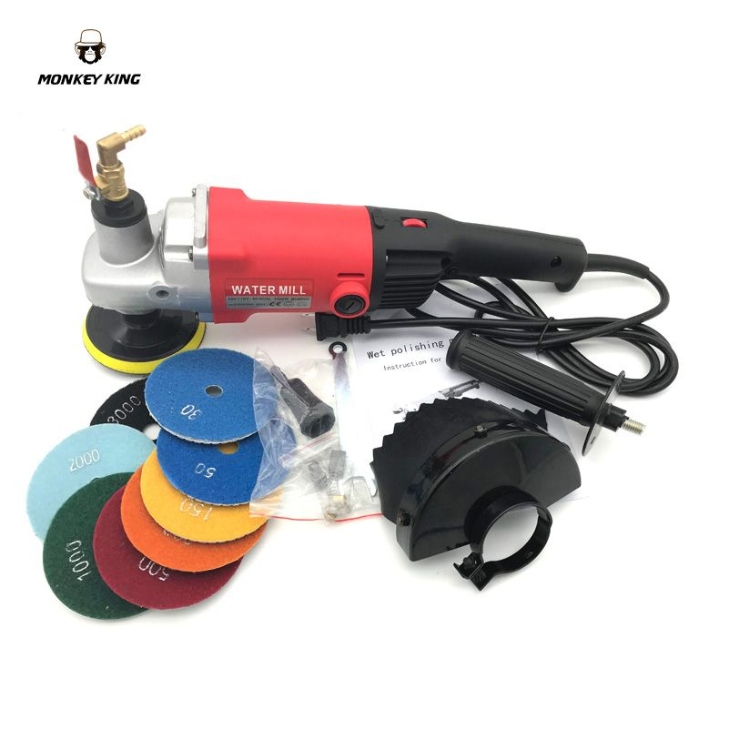 220v 110v 1400W M14 4 Inch Electric Stone Polisher Hand Grinder Water Mill Variable Speed C/W 8 Pieces Diamond Polishing Pad