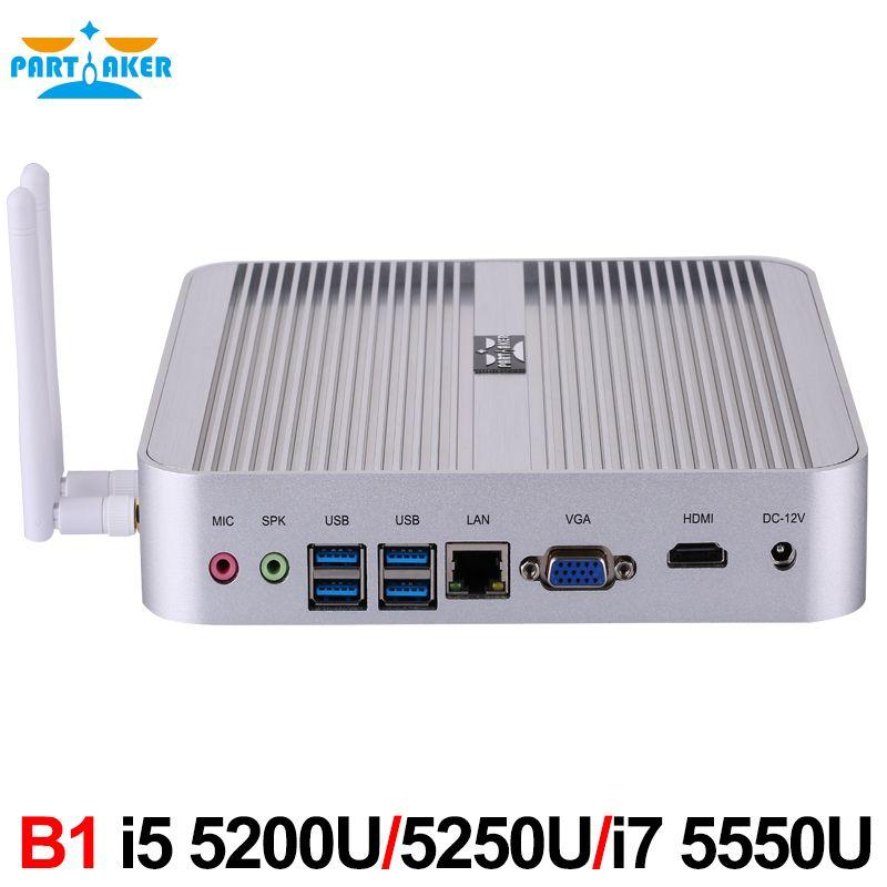 Partaker B1 Mini PC Fanless Micro Computer i5 i7 with Intel Core i5 4200u i5 5200u i5 5250u i7 5500u Windows 10 Free WiFi