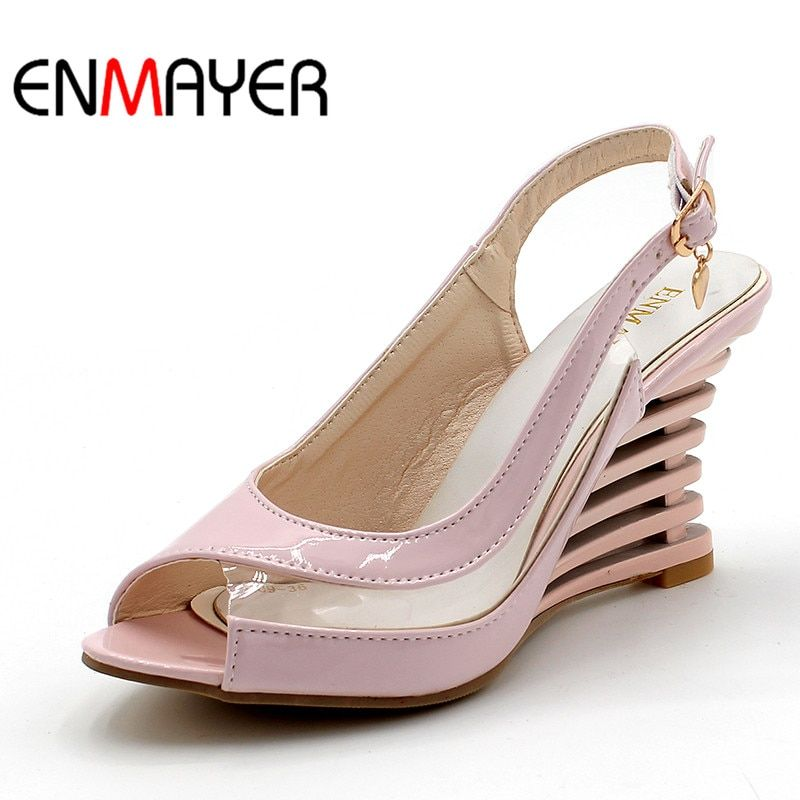 ENMAYER Wedge Heel Sandals Buckle Style Open Toe Shoes transparent Women Summer Shoes Patent PU Sexy Summer Brand Shoes Woman