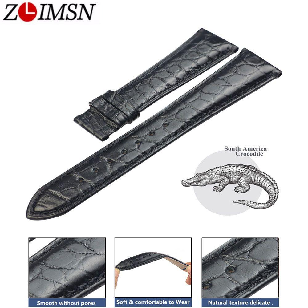 ZLIMSN Black Crocodile Lederband Mode Kreis Muster Hand Genäht Luxus Qualität Männer und Frauen Uhr Band 12mm-26mm