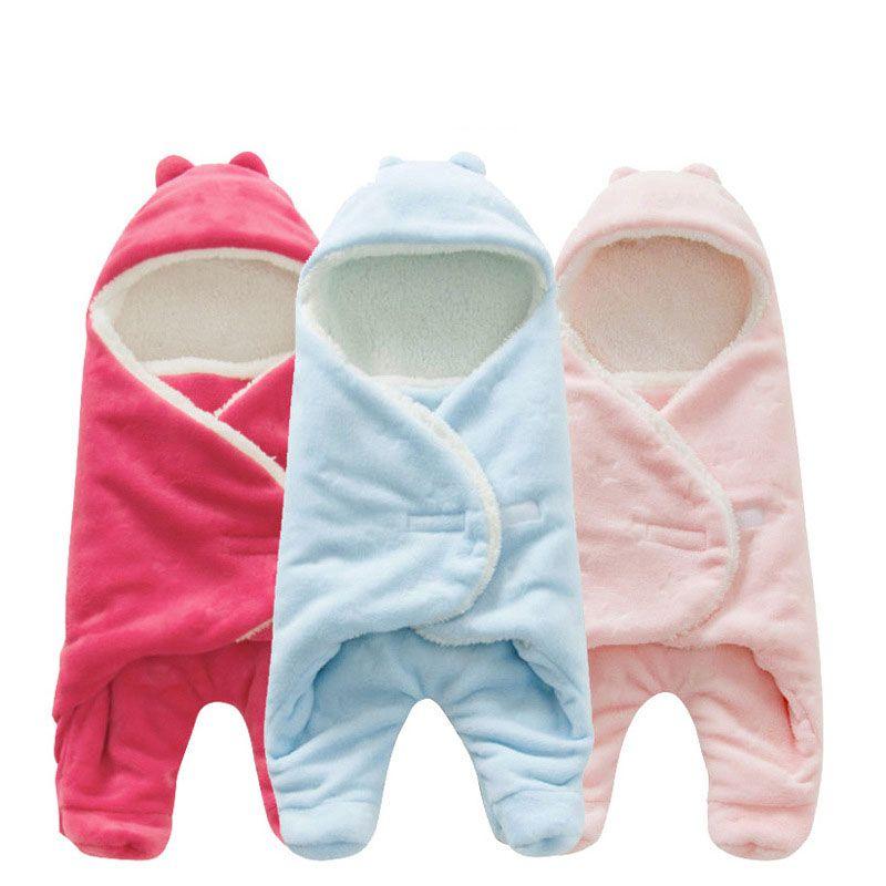 Baby Sleeping Bag 68*80cm Coral Fleece baby swaddle blanket Winter Footmuff Saco Bebe Cochecito Dormir Sac De Couchage Enfant