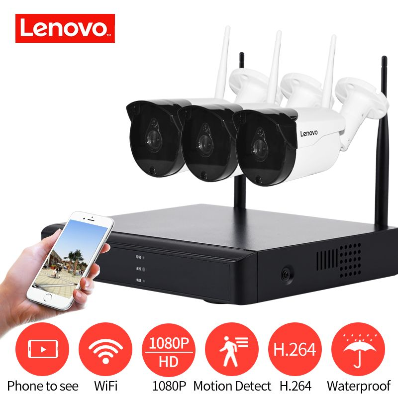 LENOVO 3CH Array HD Home WiFi Wireless Security Camera System DVR Kit 1080P CCTV WIFI Outdoor Full HD NVR Surveillance Kit Rated