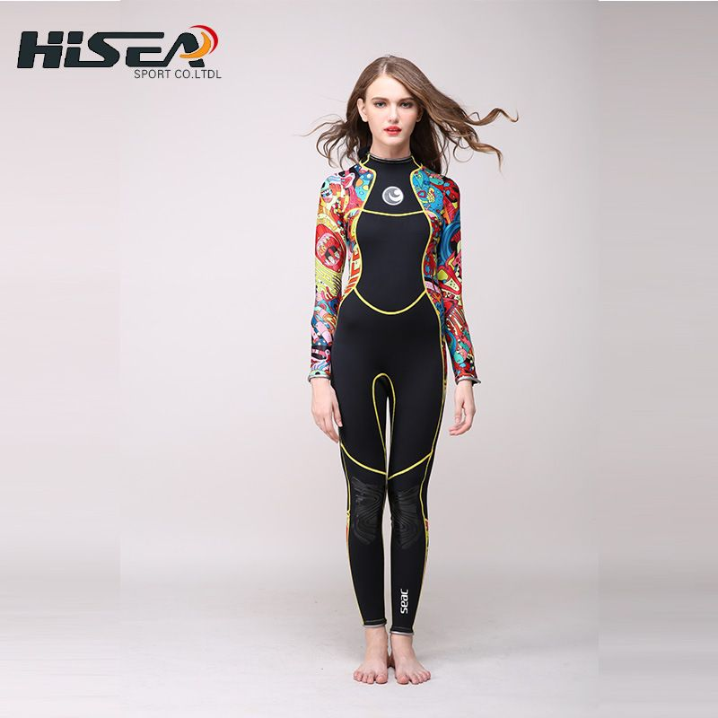 2017 New Hisea 3mm Neoprene Long sleeve Wetsuit Women Spear fishing Wet Suit Diving Swimwear kite Surfing Completo Swimsuit