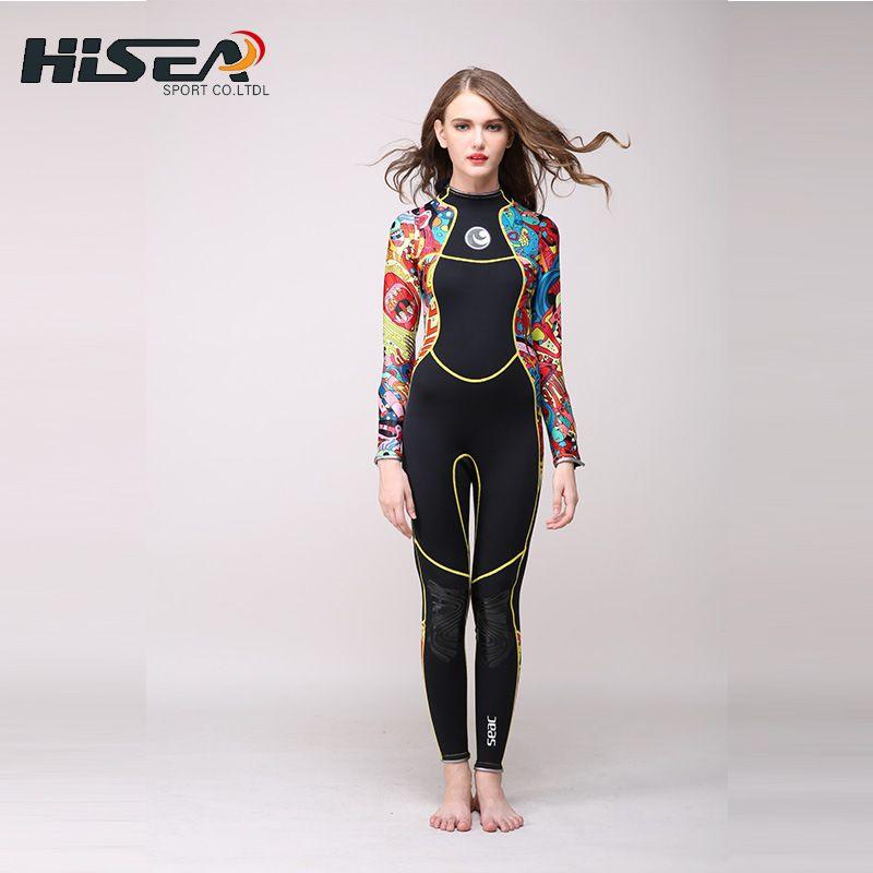 2017 New Hisea 3mm Neoprene Long sleeve Wetsuit Women Spear fishing Wet Suit Diving Swimwear kite Surfing Completo Swimsuit