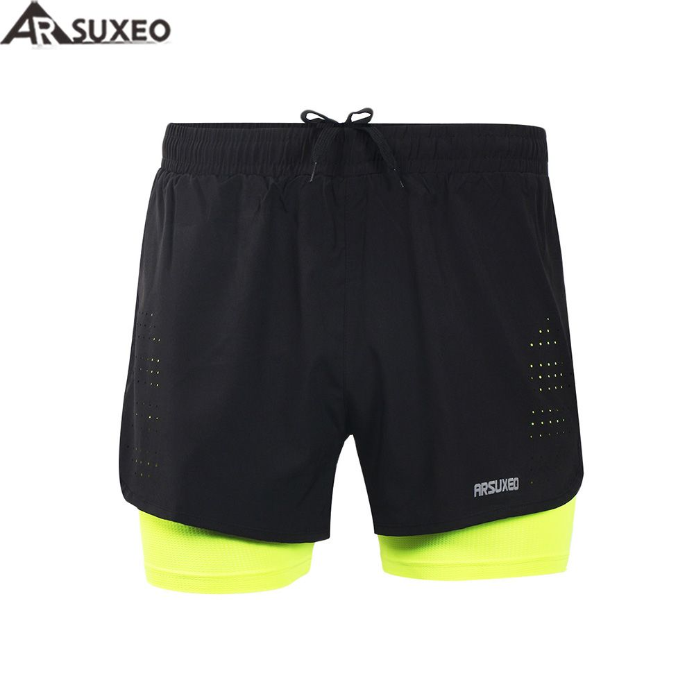 ARSUXEO 2017 Mens Sports 3 Running Shorts Active Training <font><b>Exercise</b></font> Jogging 2 in 1 Shorts with Longer Liner B179