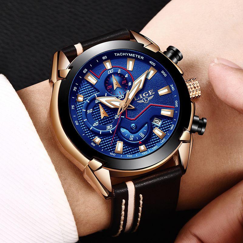 Reloje LIGE Marke männer Chronograph Analog Quarzuhr mit Datum, Leucht Hände, wasserdichte Lederband Wristswatch für Mann