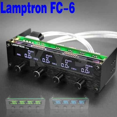 Lamptron FC6 5.25 Driver Place Fan Speed Controller LCD Screen 4 Channels