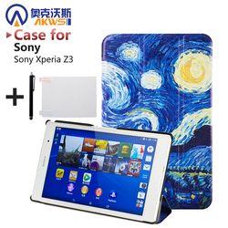 Für sony z3 kompakten gehäuse Magnetischer Intelligenter PU ledertasche Für Sony Xperia Z3 Compact tablette abdeckungsfall + bildschirm protektoren + stylus