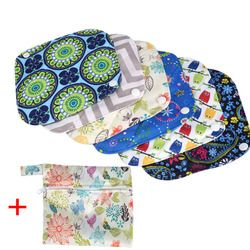 6 piezas reutilizables Sanitary Pads + bolsa mojada lavable almohadilla Menstrual Panty Liner menstruación higiene toalla sanitaria bolsa