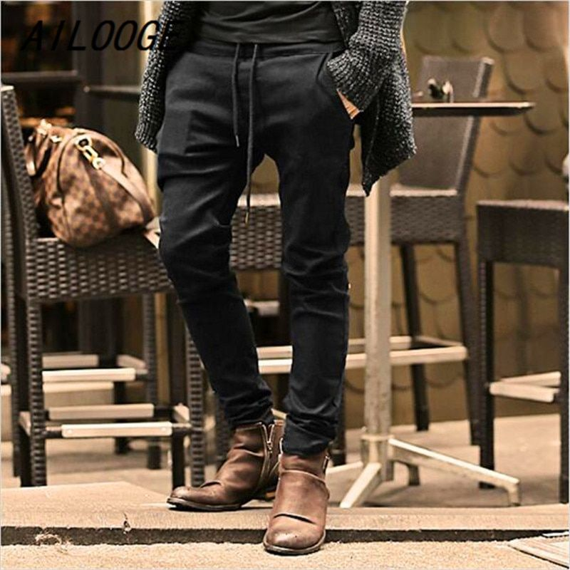 AILOOGE Mens Jeans Stretch coffee Denim Men's Skinny Jeans Slim Fit Jeans 2017 New Arrival High Quality Solid Casual Pants