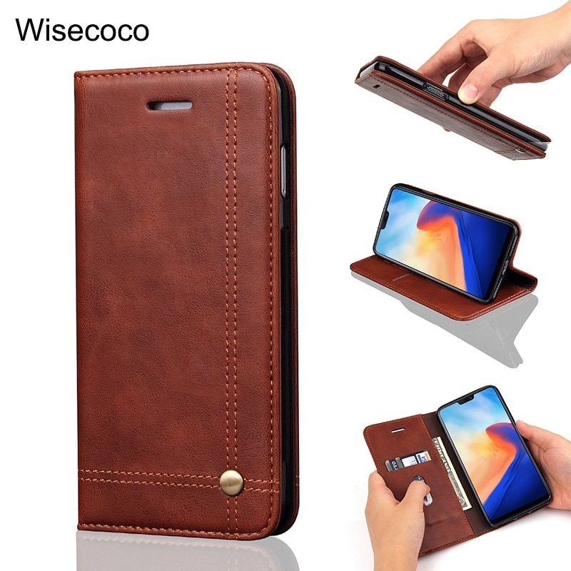 Retro Flip Phone Cases for Oneplus 6 Magnetic Leather oneplus6 Wallet Case Card Holder Stand 360 Full cover for one plus 6 etui