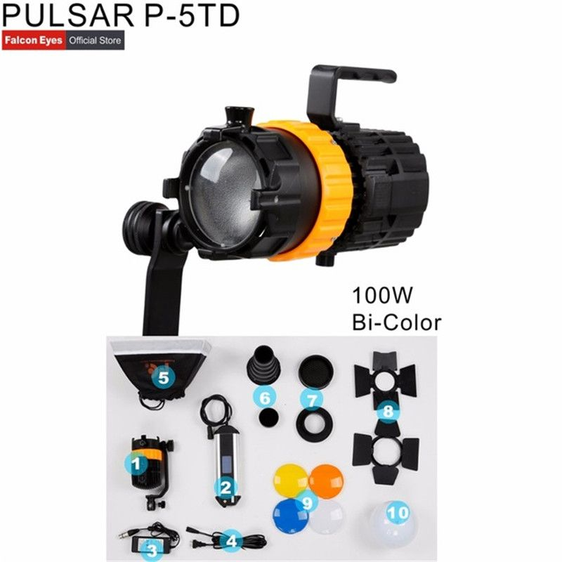 DIGITALFOTO Falcon Augen Pulsar 5 P-5TD Mini Spot Licht Einstellbarer Fokus Länge Füllen Licht 100 W Fotografie Licht