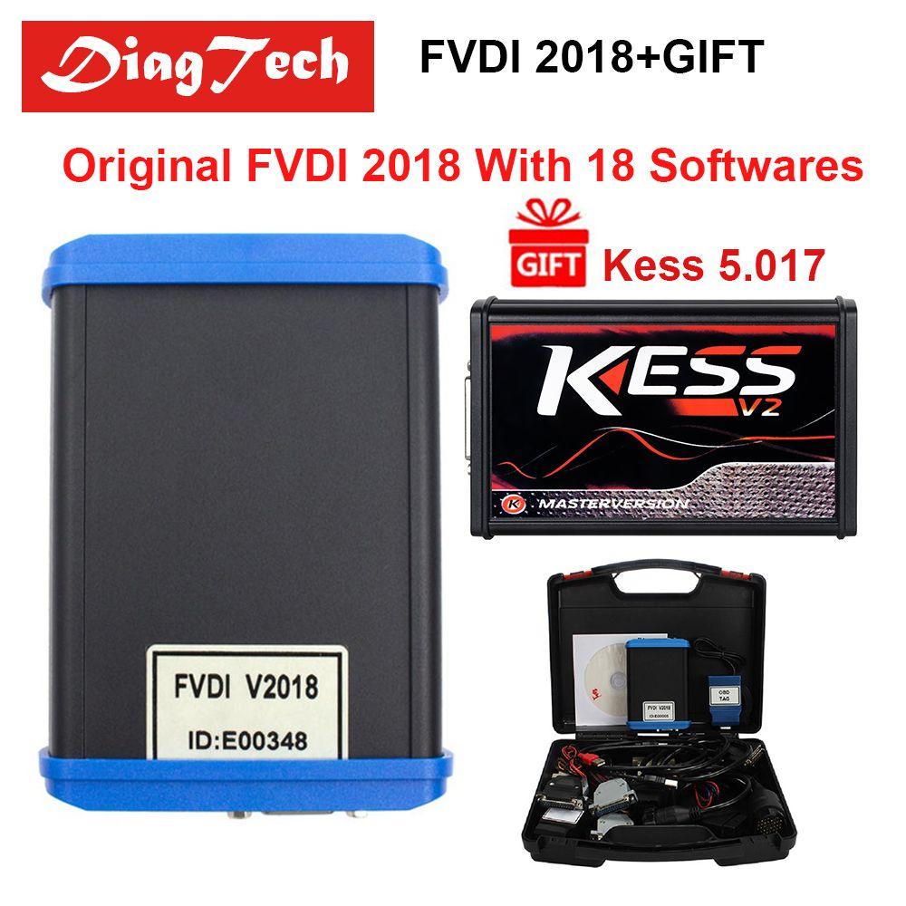 Fabrik Preis Original FVDI 2018 ABRITES + KESS 5,017 Diagnose Werkzeug Abdeckung Alle Funktionen Von 2014 2015 Mit 18 Softwares DHL Freies