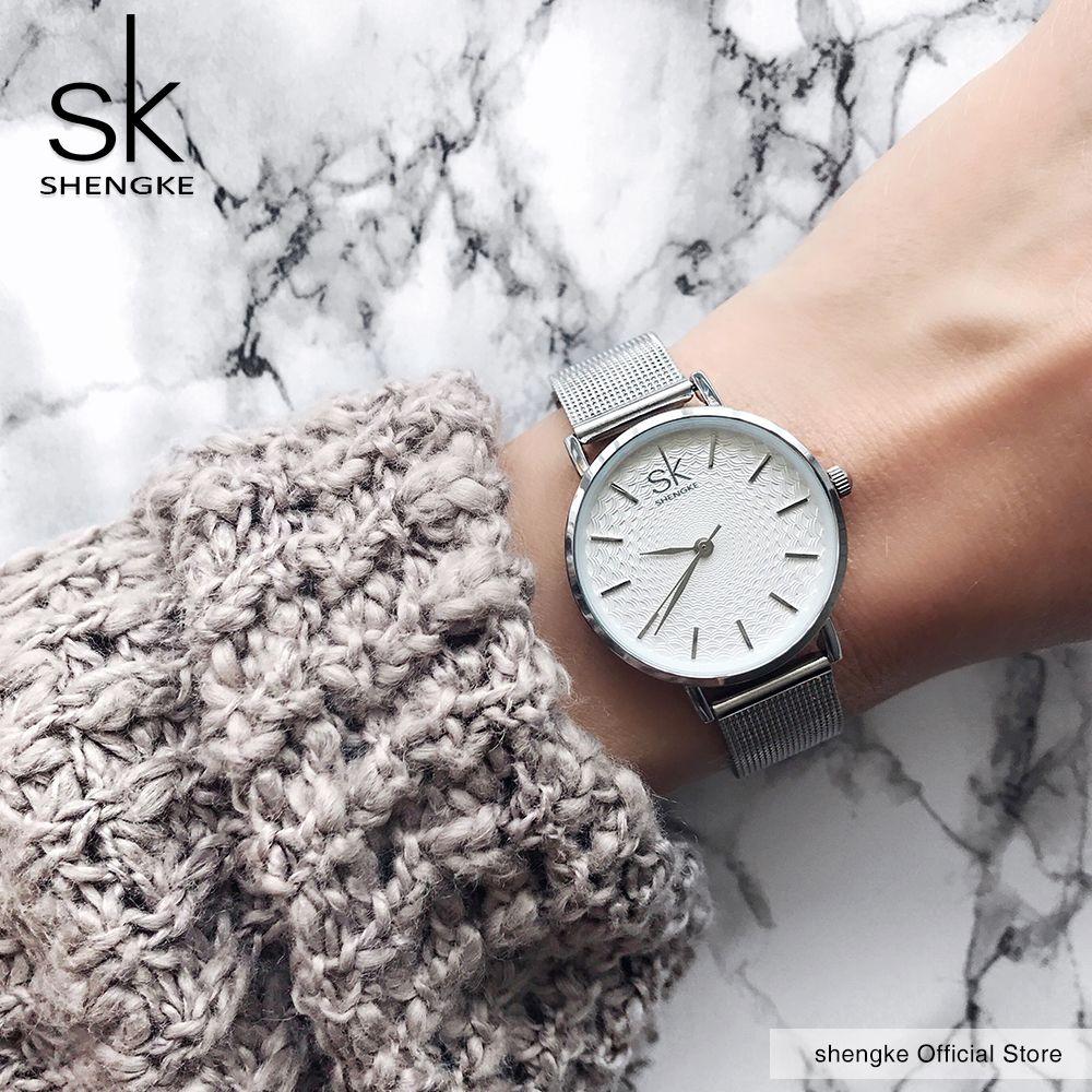 SK Súper Delgada Astilla de Malla Mujeres Top Marca de Lujo de Relojes de Acero Inoxidable Reloj Casual Señoras Reloj de Pulsera de Señora Relogio Feminino