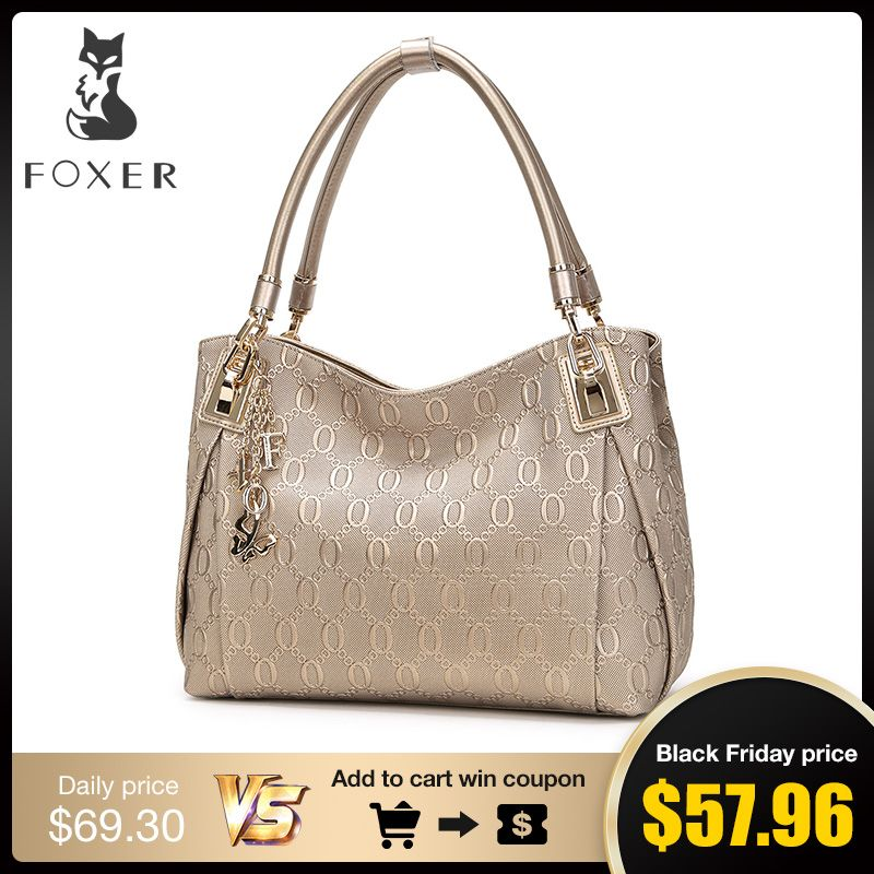 FOXER Brand Women Cow Leather Shoulder bag Fashion Design High quality Women's Handbag Female Handbags Tote Purse