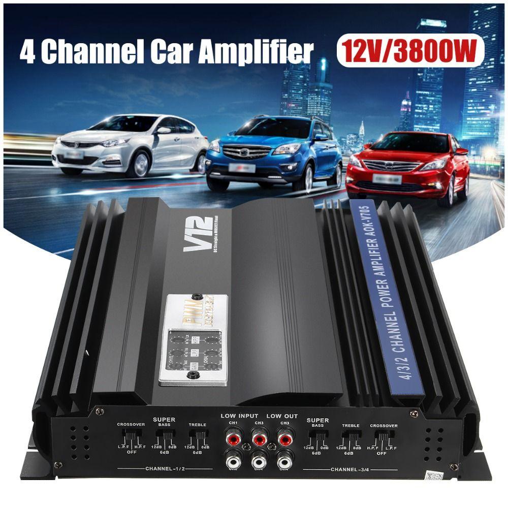 KROAK 3800 watt RMS 4 Kanal 12 v 4ohm Lkw Auto Audio Power Stereo Verstärker Amp Lautsprecher Metall Auto Verstärker auto Subwoofer