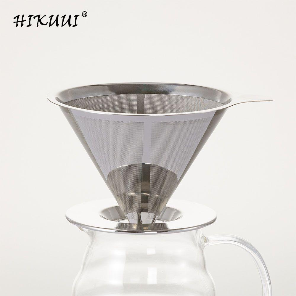 HIKUUI acier inoxydable filtre à café goutteur Base réutilisable Double maille Base café lixiviation goutte à goutte outils café accessoires