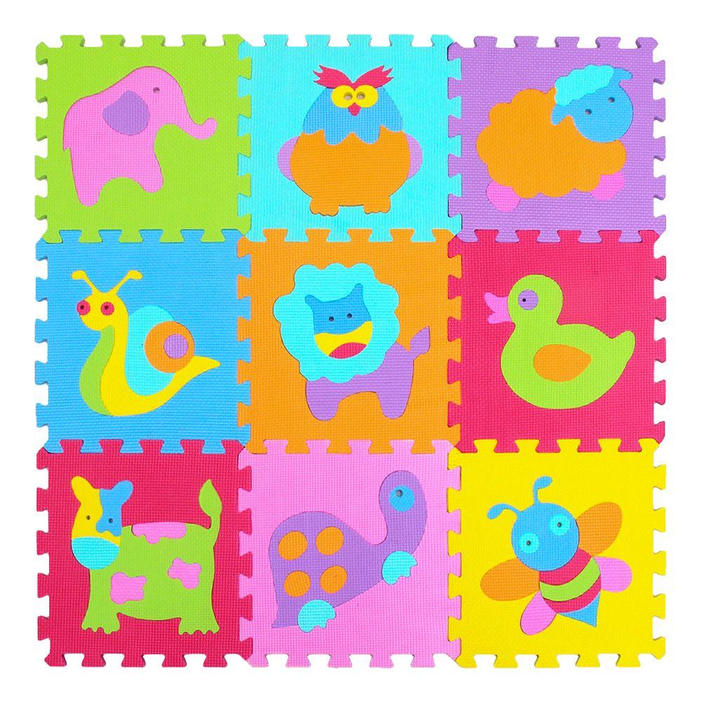 MQIAOHAM Cartoon Tier Muster Teppich EVA Schaum Puzzle Matten Kinder Boden Puzzles Spielen Matte Für Kinder Baby Spielen Gym Krabbeln matten