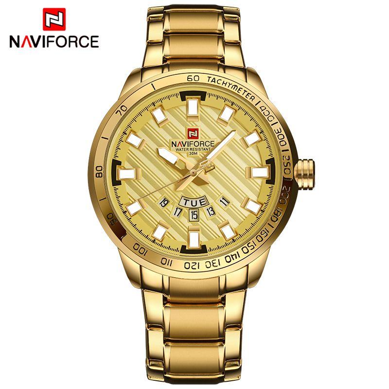 NAVIFORCE Gold Watch Men Watches Top Brand Luxury <font><b>Famous</b></font> Wristwatch Male Clock Golden Quartz Wrist Watch Relogio Masculino