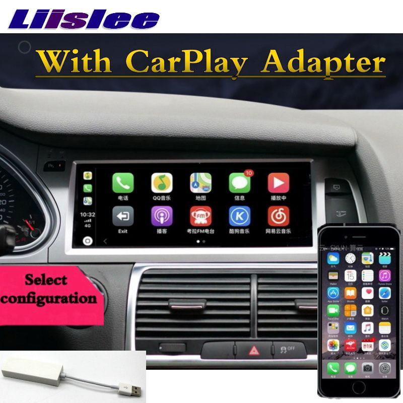 Für Audi Q7 4L V12 2007 ~ 2015 NAVI LiisLee Auto Multimedia CarPlay Adapter GPS WIFI Audio Radio Rahmen Navigation KARTE Große Bildschirm