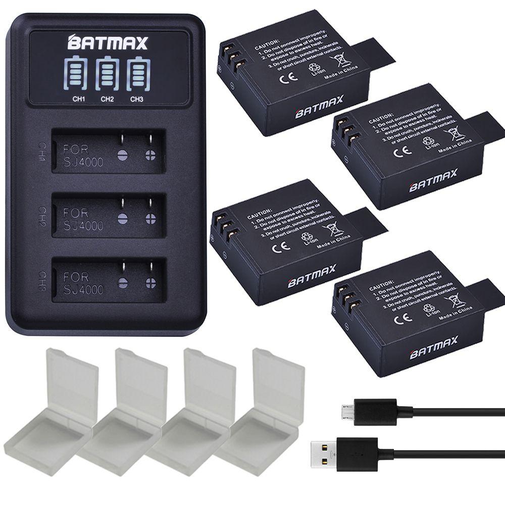 4Pcs SJ4000 PG1050 Batteries + LED 3Slots USB Charger for EKEN H9 H9R 4K SJCAM SJ4000 SJ4000WIFI,Air 4K,M10,M10WIFI,SJ5000 WIFI