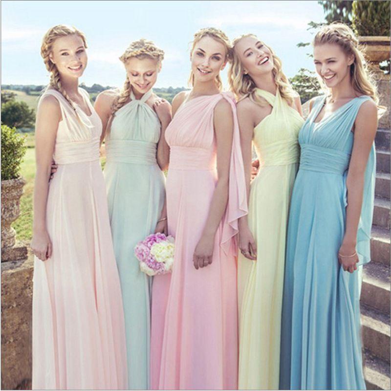 2019 Hot Lace Up Ärmel Lange Brautjungfer Kleider Rüschen Chiffon a-Line Vestido De Madrinha De Casamento Longo